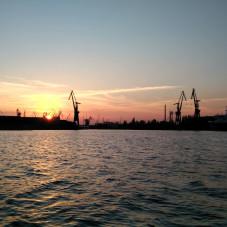 Zachód słońca nad Motławą