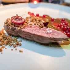 Espuma z wątróbek, sos foie gras, czereśnia z pomarańczą i cynamonem