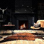 Aranżacja przytulnego salonu z kominkiem w stylu eklektycznym.