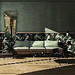 Aranżacja salonu z widokiem na las w stylu eklektycznym.