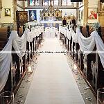 Ślubny wystrój kościoła w Gdańsku ~ Dekoracja ślubna kościołów Trójmiasto ~ Biały dywan ślubny Sopot