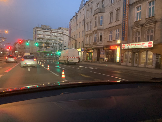 Zwężenie na al. Grunwaldzkiej w Gdańsku