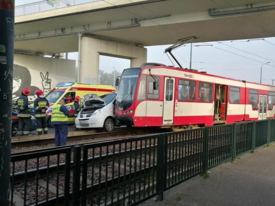 Kolizja tramwaju z autem