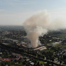 Pożar na Oruni widziany z góry
