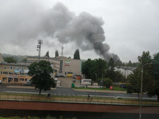 Kłęby dymu nad Orunią