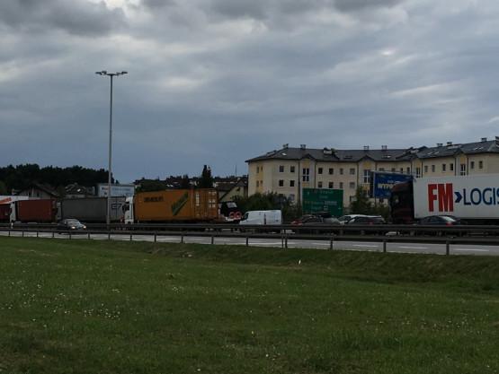 Duży korek na obwodnicy w kierunku Gdańska