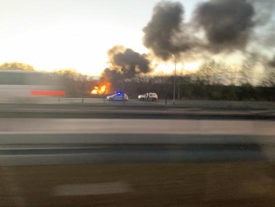 Pożar przy Trasie Sucharskiego