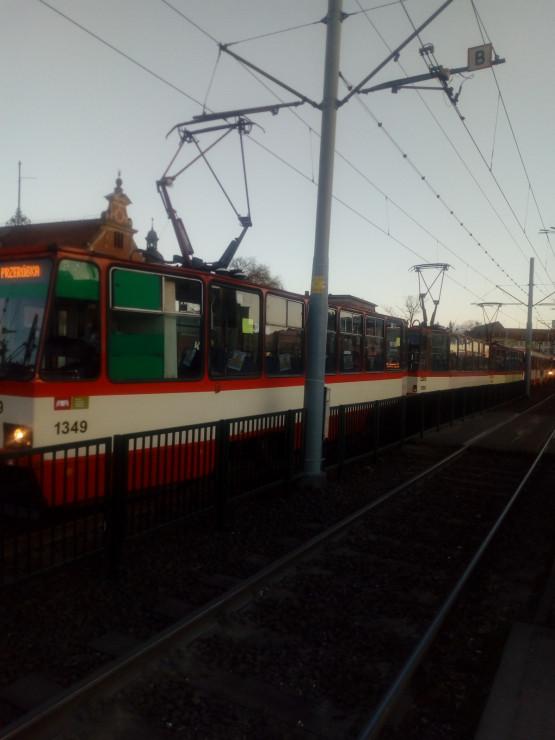 Korek po awarii tramwaju na Bramie Wyżynnej