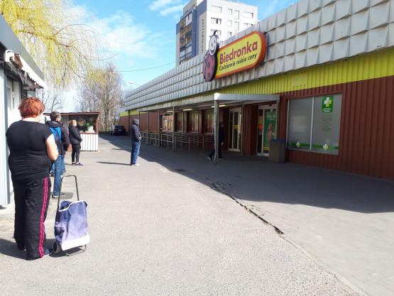 Kolejka do biedronki przy ul. Arctowskiego