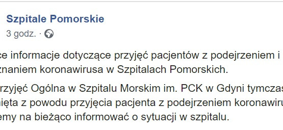 Izba przyjęć w Szpitalu Morskim w Gdyni zamknięta
