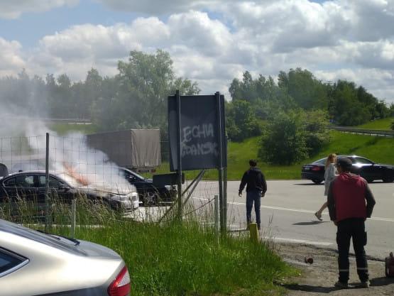 Pożar auta na zjeździe na Szadółki