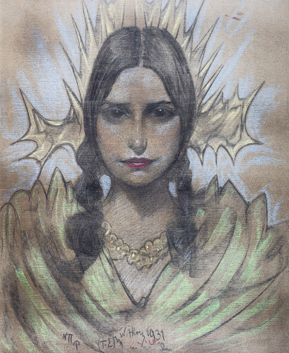 56. Stanisław Ignacy Witkiewicz, Portret kobiety z warkoczami, 1931 r.