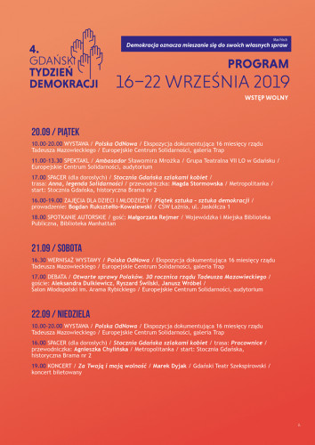 Program 4. Gdańskiego Tygodnia Demokracji