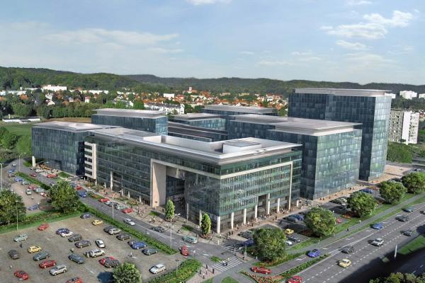 Cały kompleks ma mieć 120 tys. m kw. powierzchni najmu. Wizualizacja z 2010 roku, z początku realizacji kompleksu.