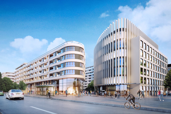 Pomiędzy budynkami powstanie ogólnodostępny plac miejski.