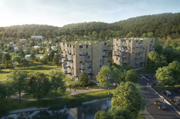Apartamentowce będą miały bardzo nowoczesną, komponującą się z zielonym otoczeniem, architekturę.