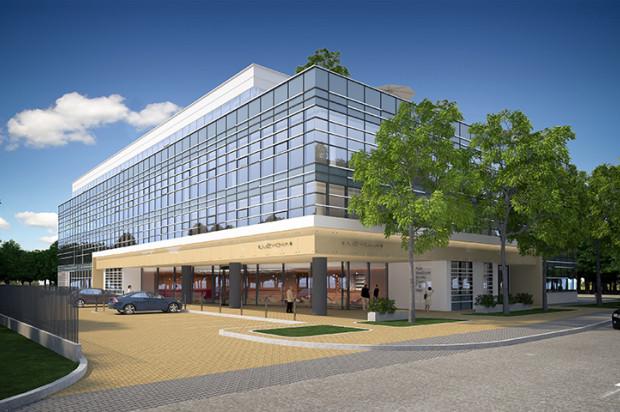 Szklana elewacja budynku zapewni optymalne doświetlenie biurowym wnętrzom.