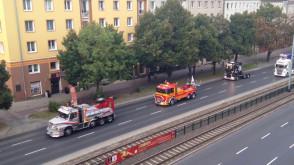 Przejazd ciężarowek przez al. Grunwaldzką