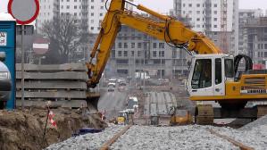 Prace budowlane przy linii tramwajowej na Morenę