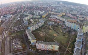 Układ bloków na Zaspie i miejsce, gdzie powstanie nowy blok