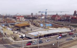 Budowa Forum Gdańsk z lotu ptaka - kwiecień 2016