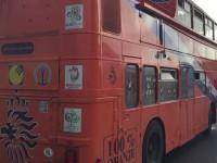 Specjalny autokar z kibicami z Holandii pod stadionem w Gdańsku