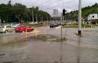 Zalane skrzyżowanie na Kartuskiej