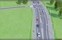 Wizualizacja ul. Nowej Jabłoniowej z tramwajem