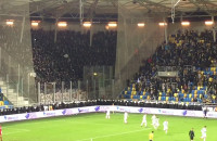 Radość kibiców Lechii po objęciu prowadzenia w mecz z Arką