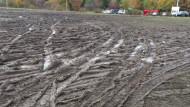 Błoto zamiast trawy przy al. Armii Krajowej w Gdańsku