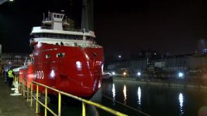Wodowanie polarnego statku w Stoczni Crist