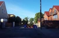 Zapadnięta jezdnia i objazd na Dworskiej