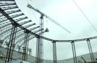 Zawieszenia wiechy na stadionie PGE Arena w Gdańsku.