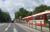 Stoją tramwaje na ul. Gdańskiej w Brzeźnie