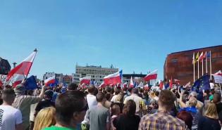 Lech Wałęsa przemawia podczas protestu
