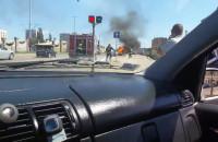 Pożar kabrioleta na Podwalu Przedmiejskim