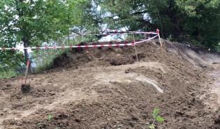 Niewybuch na budowie ogrodzenia przy WSAiB