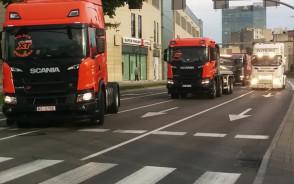 Ciężarówki Scania pod Galerią Bałtycką