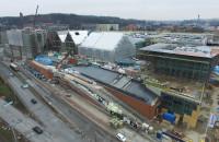 Budowa Forum Gdańsk z lotu ptaka - styczeń 2018