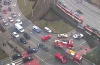 Pogotowie i strażacy zasuwają do tramwaju