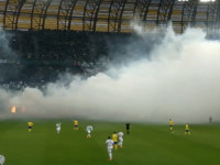 Dym  na meczu Lechia  Arka
