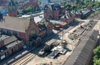 Remont stacji kolejowej Gdańsk Główny z lotu ptaka
