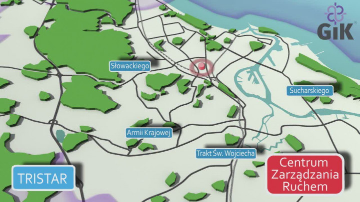 Wizualizacja systemu Tristar na terenie Gdańska.