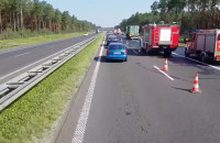 Kolizja dwóch ciężarówek 85 km A1