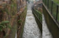 Pełno wody w kanale przy Wielkim Młynie