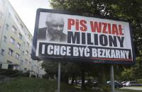 Billboardy z Jarosławem Kaczyńskim na ulicach Gdańska