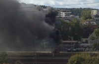 Pożar we Wrzeszczu, przy torach kolejowych