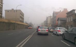 Mgła i korek na trakcie św Wojciecha
