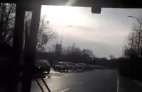 Korek widziany z autobusu