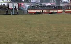 Pożar tramwaju na pętli na Zaspie